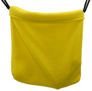 Hanging yellow sleeping pouch
