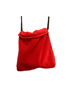 red sleeping pouch hanging
