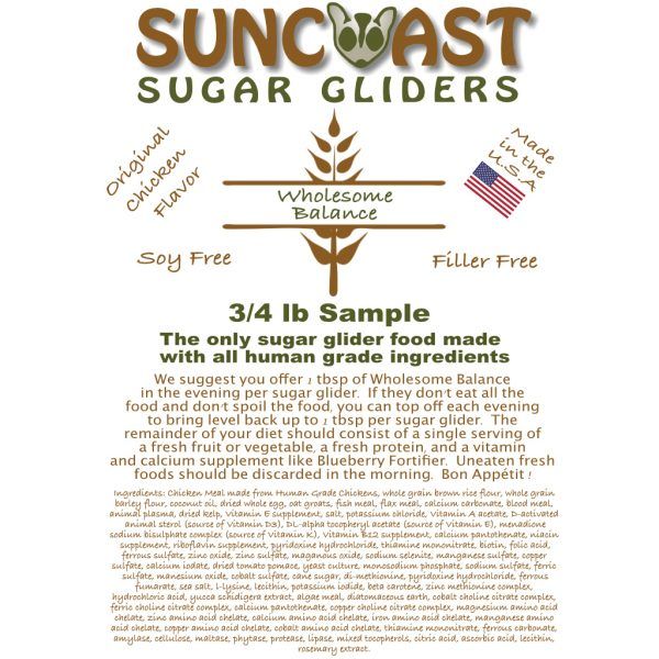 Sugar Glider Food Label